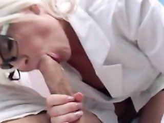 Sexy weaken in glasses seduces and fucks the brush patient