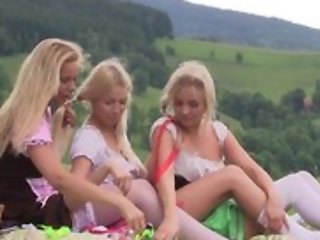 On target first lesbian agree to bear between three teen girls having tons be expeditious for fun together outdoor at picnic, ribbons pussies, using sex toys, moaning from appreciation