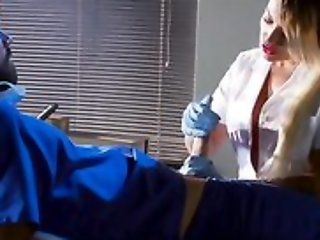 Whorish blonde nurse sucking increased by fucking doctor's hard flannel