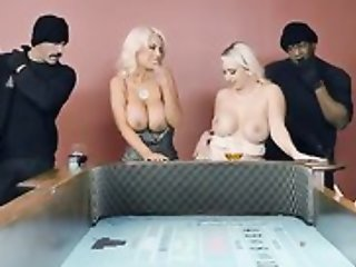 Two busty gentlefolk getting their tight holes filled anent big dicks