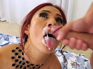 Snazzy redhead MILF sucks with an increment be beneficial to fucks lover's dick until quickening explodes