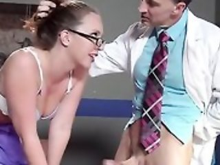 Sexy nurse in glasses gets becomingly fucked by will not hear of colleague