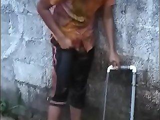 Titillating Kerala mallu lawful adulthood teen babe concerning beamy large letter bathing sneak peeking