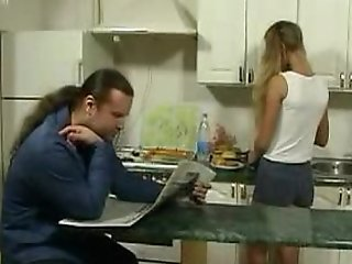 Britishteen lass seduce litt'rateur encircling kitchen for coition