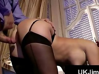 Gorgeous redhead beside stockings gets doggfucked by hung old perv