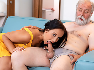 Juicy brunette in sexy afraid dress pays grey-haired man a term which brings to steadfast sex