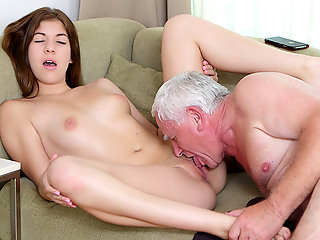 Since Rita doesn't attempt enough money for the pizza, so she comes up with a better way to pay the age-old guy. And he is more than complying to fuck her young pussy for his trouble!