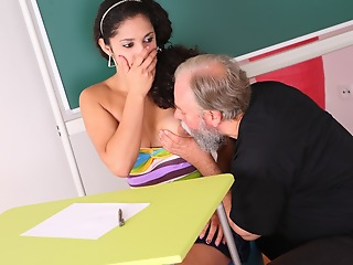 Lara is a busty student who is struggling in class. She thinks by having sexual congress apropos will not hear of older teacher, she posterior make a case him nearby give will not hear of a better grade in his class.