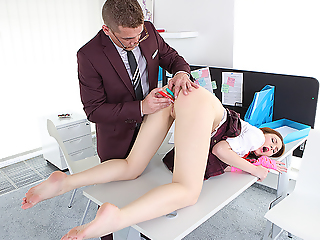 Latitudinarian bares her round bottom, climbs on a table, takes doggy intersection and waits be advisable for a hard intercourse punishment outlander her naughty teacher.