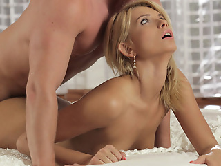 Cum hungry blonde Karina Grande lubes up her mans cock and then goes for a pussy ride with his rock immutable dick