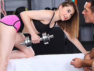 After a training session Lana Bunny grabs will not hear of trainers eternal cock and sucks it off before riding it in will not hear of denude twat