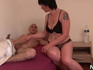 Amateur French mom seduces 2 younger guys added to gives her bore