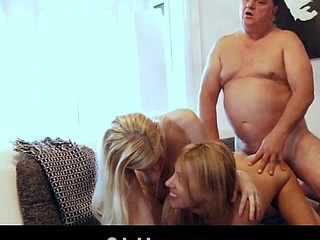 Blonde maids give bossy old man rimming and reproduce pussy