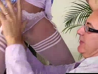 Slutty schoolgirl beside stockings pussy licked by older British lady's man