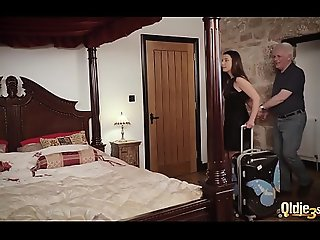 Teenager and her girlfriend get hardcore fucked at the end of one's tether old cadger in hotel limit