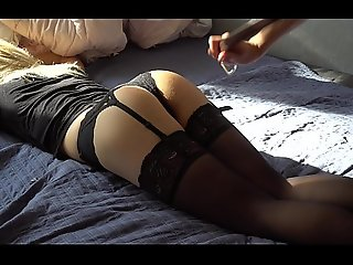 Boyfriend in morose stockings spanked less a belt
