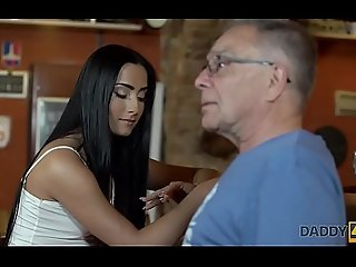 DADDY4K. Young girl and boyfriend's daddy set about sensual mating in bar