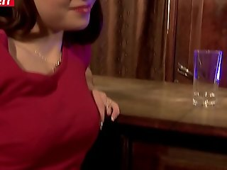 Drunk French Teen Gets Fucked in the Bar by several mature guys (Luna Rival)