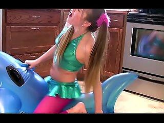 Sex-mad Slut Grinds Inflatable Whale far Orgasm